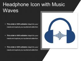 Headphone Icon With Music Waves