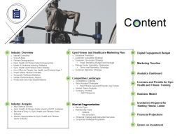 Health And Fitness Industry Content Ppt Powerpoint Presentation Inspiration Graphics Tutorials