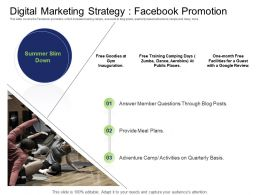 Health And Fitness Industry Digital Marketing Strategy Facebook Promotion Ppt Diagrams