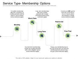 Health And Fitness Industry Service Type Membership Options Ppt Powerpoint Presentation Themes