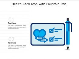 Health Card Icon With Fountain Pen