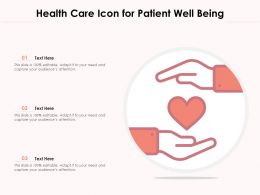 Health Care Icon For Patient Well Being