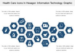 Health Care Icons In Hexagon Information Technology Graphic