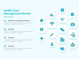 Health Care Management Review Ppt Powerpoint Presentation Styles Clipart