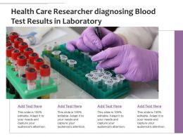 Health Care Researcher Diagnosing Blood Test Results In Laboratory