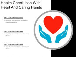Health Check Icon With Heart And Caring Hands