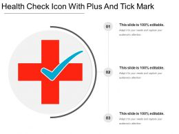 Health Check Icon With Plus And Tick Mark