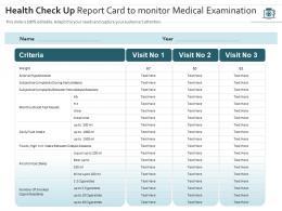 Health Check Up Report Card To Monitor Medical Examination