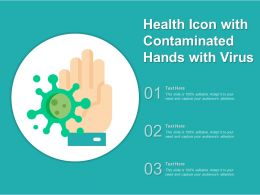 Health Icon With Contaminated Hands With Virus