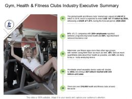 Health Industry Gym Health And Fitness Clubs Industry Executive Summary