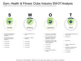 Health Industry Gym Health And Fitness Clubs Industry Swot Analysis Ppt Powerpoint Information