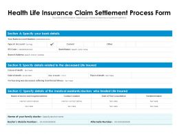 Health Life Insurance Claim Settlement Process Form