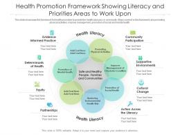 Health Promotion Framework Showing Literacy And Priorities Areas To Work Upon