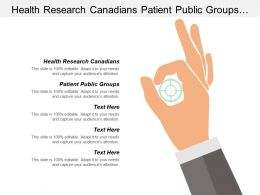 Health Research Canadians Patient Public Groups Manage Portfolio