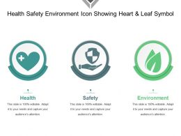 Health Safety Environment Icon Showing Heart And Leaf Symbol