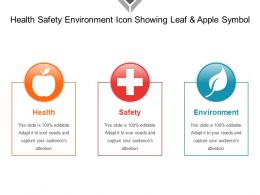 Health Safety Environment Icon Showing Leaf And Apple Symbol