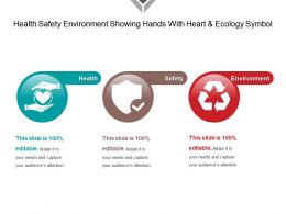 Health Safety Environment Showing Hands With Heart And Ecology Symbol