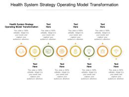 Health System Strategy Operating Model Transformation Ppt Powerpoint Presentation Infographic Template Slide Cpb
