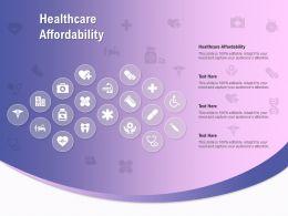 Healthcare Affordability Ppt Powerpoint Presentation Pictures Portfolio