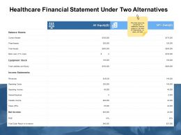 Healthcare Financial Statement Under Two Alternatives Balance Ppt Powerpoint Presentation Information