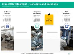 Healthcare Marketing Clinical Development Concepts And Solutions Ppt Powerpoint Presentation Layouts