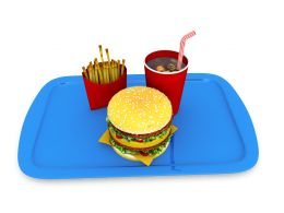 Healthy Food Tray With Drink Burger And Fries Stock Photo