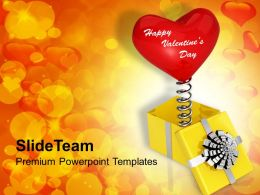 Heart Coming Out Of Yellow Box Valentines PowerPoint Templates PPT Themes And Graphics 0213