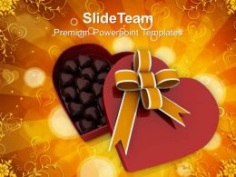 Heart Gift Box Ful Of Chocolates February PowerPoint Templates PPT Themes And Graphics 0213