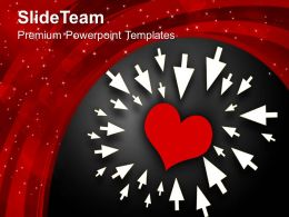 Heart Pointed By Arrows Love PowerPoint Templates PPT Themes And Graphics 0213