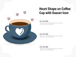 Heart Shape On Coffee Cup With Saucer Icon