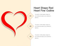 Heart Shape Red Heart Fine Outline