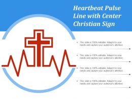 Heartbeat Pulse Line With Center Christian Sign