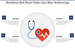 Heartbeat Red Heart Pulse Line Blue Stethoscope