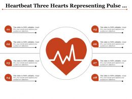 Heartbeat Three Hearts Representing Pulse Line Center