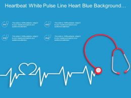 Heartbeat White Pulse Line Heart Blue Background Stethoscope