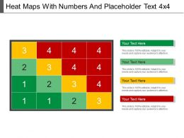 Heat Maps With Numbers And Placeholder Text 4x4 Ppt Example File