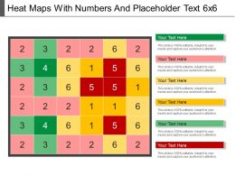 Heat Maps With Numbers And Placeholder Text 6x6 PowerPoint Shapes