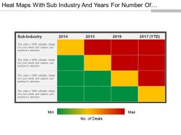 Heat Maps With Sub Industry And Years For Number Of Deals 4x4 Ppt Examples