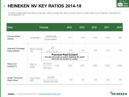 Heineken Nv Key Ratios 2014-18