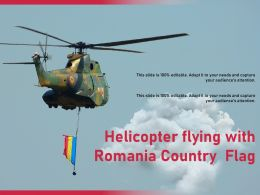 Helicopter Flying With Romania Country Flag