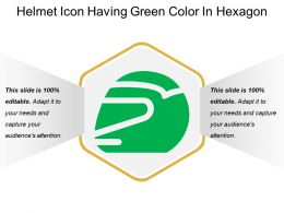 Helmet Icon Having Green Color In Hexagon
