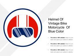 Helmet Of Vintage Bike Motorcycle  Of Blue Color