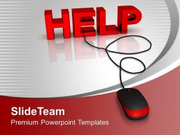 Help With Computer Mouse On Red Backgroud Powerpoint Templates Ppt Themes And Graphics 0113