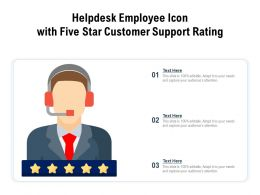 Helpdesk Employee Icon With Five Star Customer Support Rating