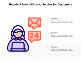 Helpdesk Icon With 24x7 Service For Customers