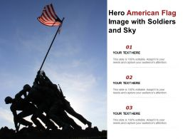 Hero American Flag Image With Soldiers And Sky