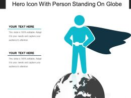 Hero Icon With Person Standing On Globe