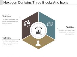 Hexagon Contains Three Blocks And Icons