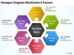 Hexagon Diagram Multicolor 6 Factors Ppt Powerpoint Slides