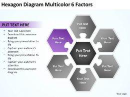 Hexagon Diagram Multicolor 6 Factors Ppt Powerpoint Slides